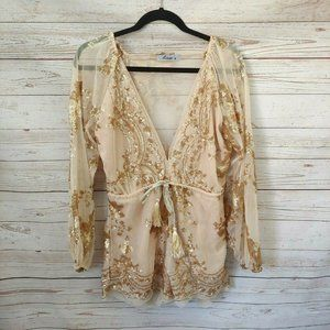 Luxe Nude Tan Sheer Sequins Lace VNeck Romper Size
